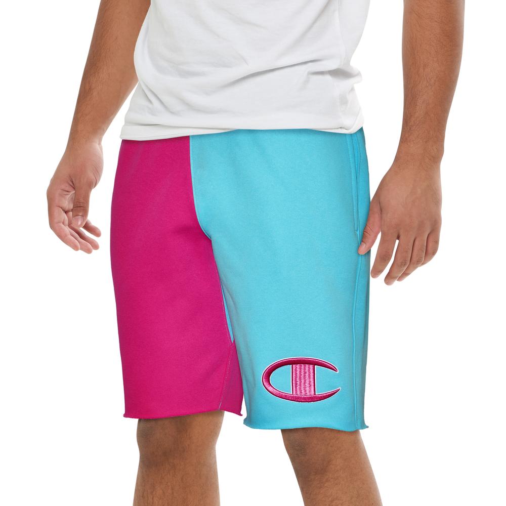 Champion Reverse Weave Colorblock Cut Off Short - Mens / Blue Horizon/Peony Parade Pink/White