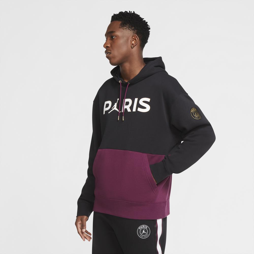 Jordan PSG Fleece Hoodie - Mens / soccer-international-clubs-gear | paris-saint-germain | Black/Bordeaux/Metallic Gold