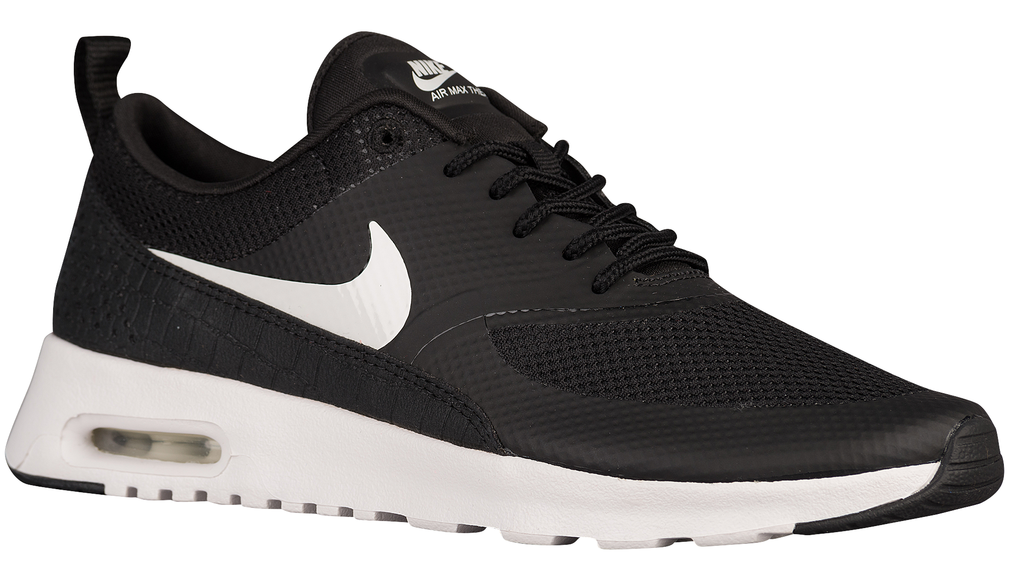 womens nike air max thea running shoes black and white clipart