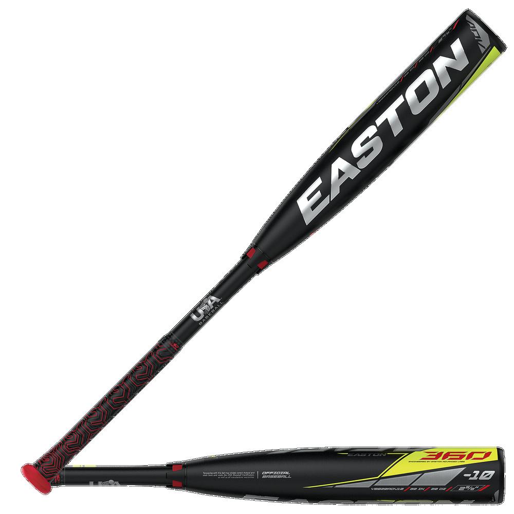 Easton YBB20ADV10 ADV 360 USA Baseball Bat - Mens / Black/Silver/Yellow   -10 oz / 2 5/8 Barrel