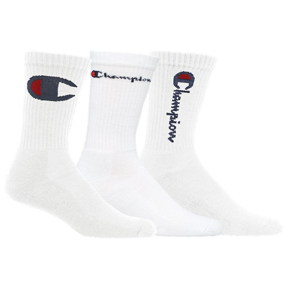 Champion 3 Pack Multi Logo Crew Socks - Mens / White