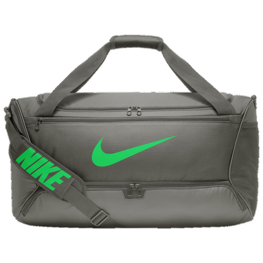 Nike Brasilia Medium Duffel / Dark Stucco/Green Spark
