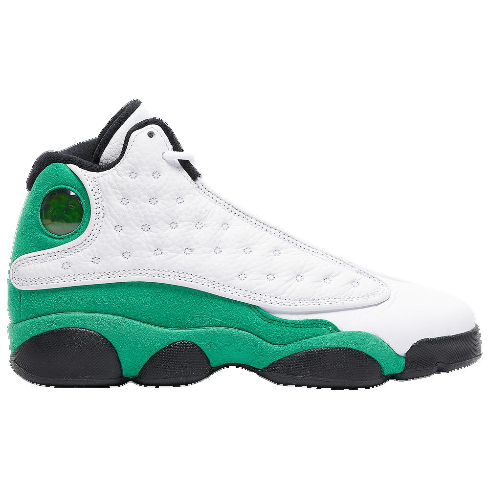 Jordan Retro 13 - Boys Grade School / White/Lucky Green/Black