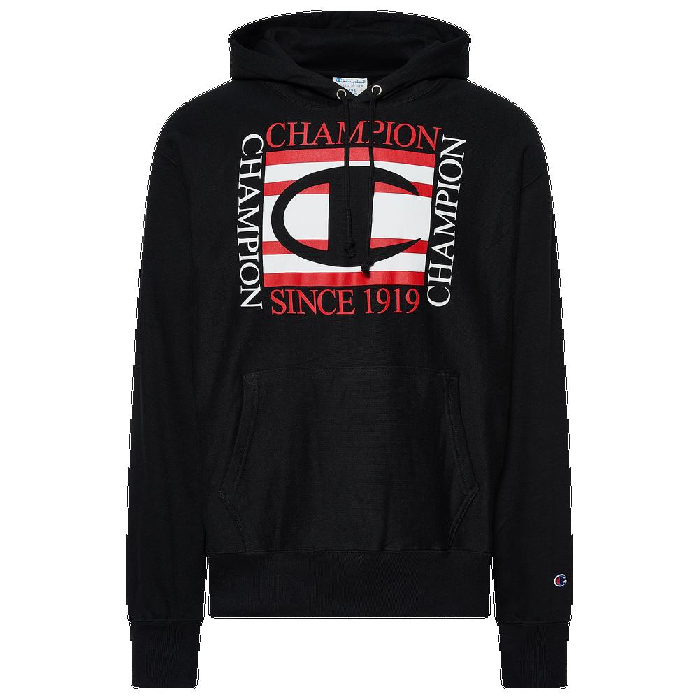 Champion Square Logo Pullover Hoodie - Mens / Black/Red/White
