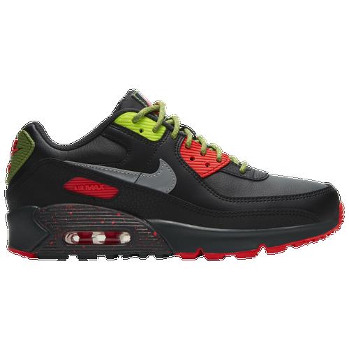 Boys Nike Nike Air Max 90 - Boys' Grade School Running Shoe Black/Metallic Silver/Dark Smoke Grey Size 03.5 - Common Ace