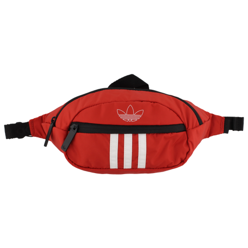 Travel and commute with easy, convenient style in the adidas Originals 3 Stripes Waist Pack. Can be worn as a crossbody or waistpack. Zippered main compartment and small front pocket. Clip-lock closure. Metal pullers with nylon zippers. 100% polyester. Dimensions: 4.25\\\