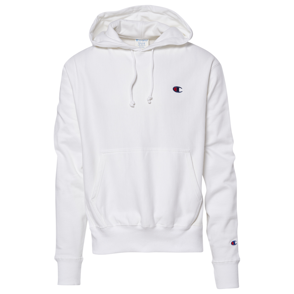 Champion Reverse Weave Left Chest C Pullover Hoodie - Mens / White/Red