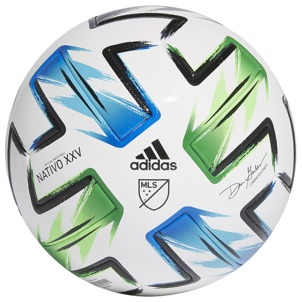 adidas MLS Competition Soccer Ball / White/Samba Blue/Solar Green