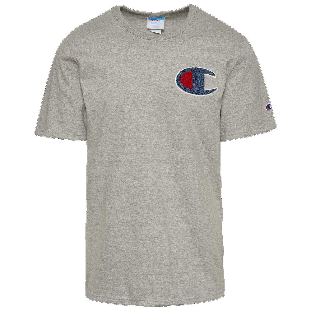 Champion Heritage Chenille Logo T-Shirt - Mens / Oxford Grey