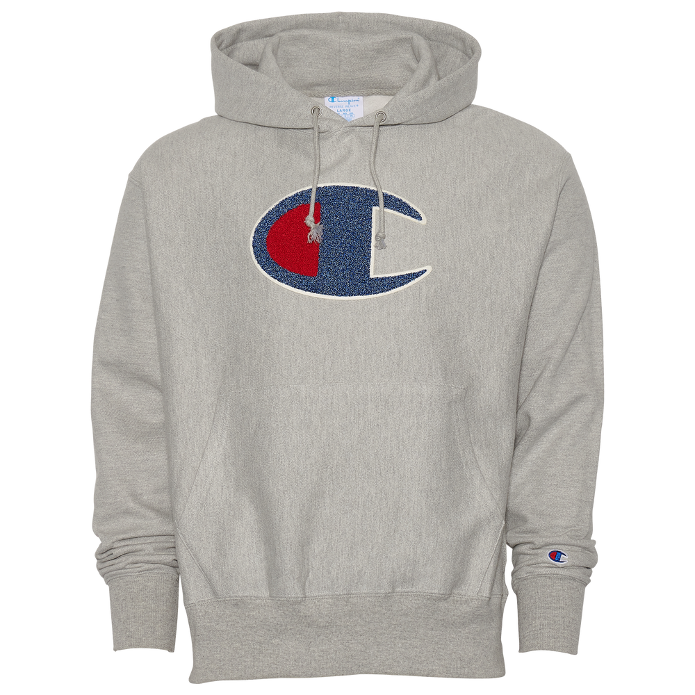 Champion Reverse Weave Chenille Logo Crew - Mens / Oxford Grey