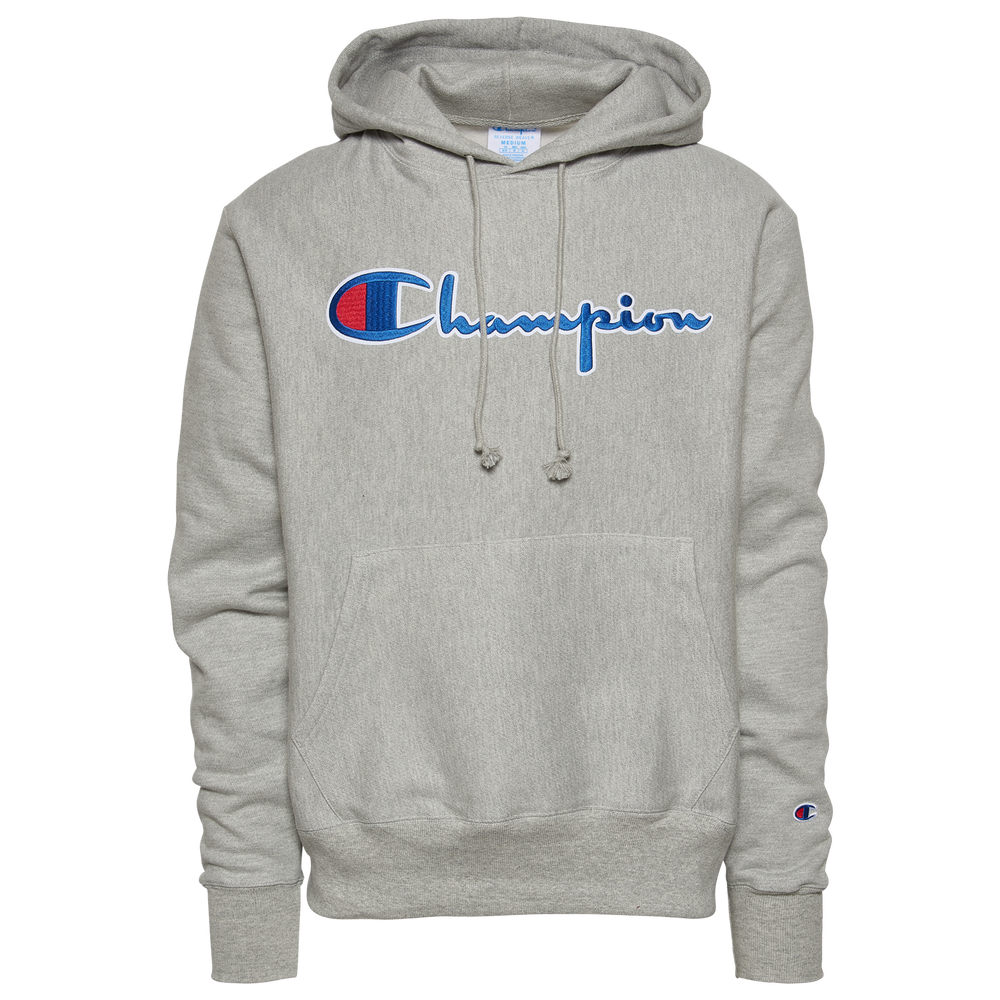 Champion Reverse Weave Script Logo Hoodie - Mens / Oxford Grey