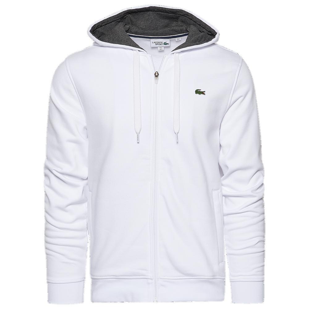 Lacoste Fleece Full-Zip Hoodie - Mens / White