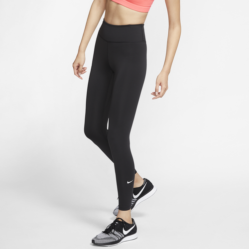 Whether you\\\'re going hard at the gym or just walking to class, these Nike One Tights provide all-day comfort. The incredibly soft, sweat-wicking fabric keeps you dry and comfortable, no matter the situation. Soft fabric feels like a second skin. Nike Dri-FIT technology prevents sweat from ruining your day. Back waistband features a slip-in pocket to hold your phone. Mid-rise waistband is wide and snug without being smothering. Solid: 83% recycled polyester/17% spandex; Heather: 83% polyester/17% spandex. Imported.