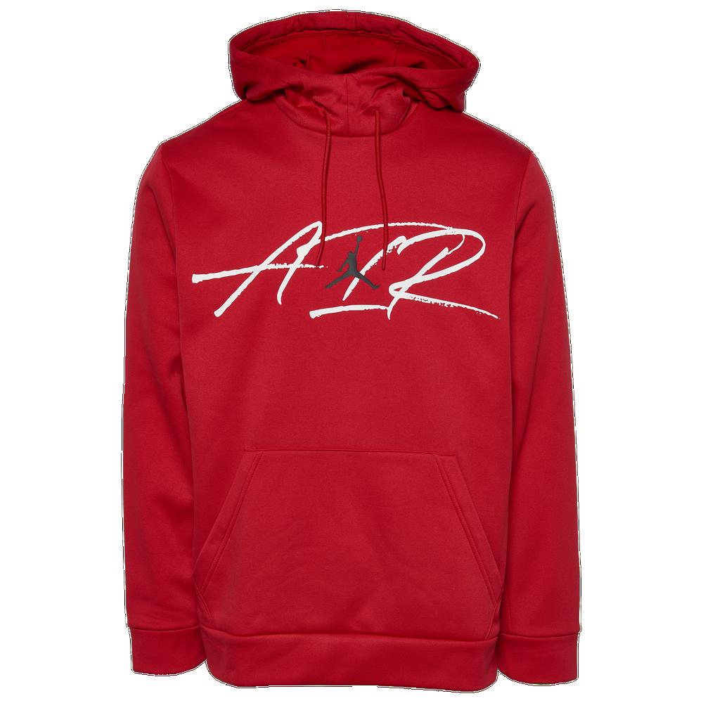 Jordan Air Therma Fleece Pullover Hoodie - Mens / Gym Red/Black