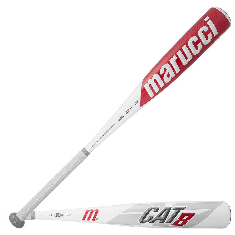 Marucci Cat 8 Senior League Bat - Grade School / White/Red   -10 oz / 2 3/4 Barrel
