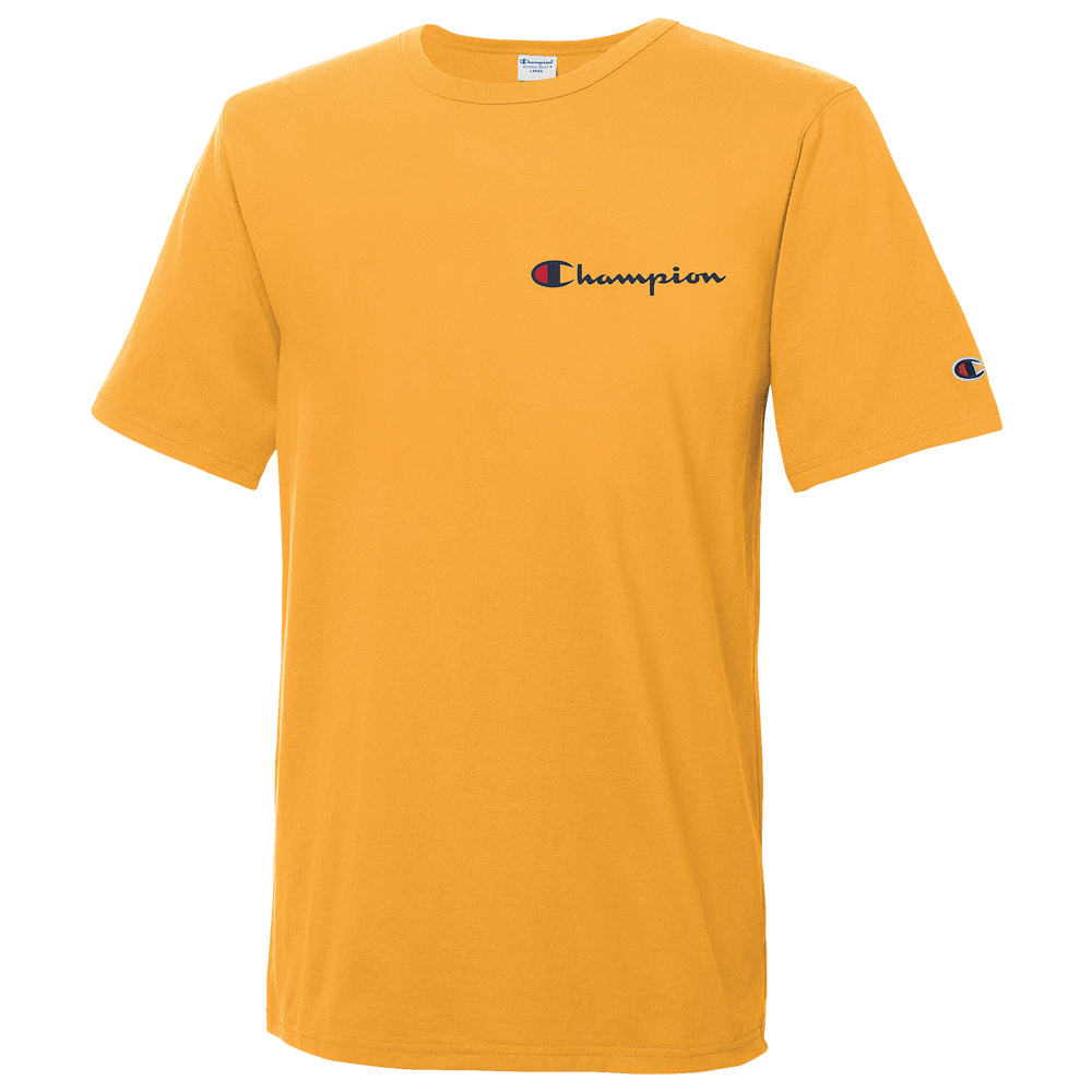 Champion Script Embroidered T-Shirt - Mens / Gold/Navy