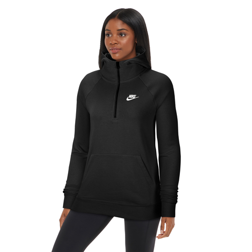 When you\\\'re heading out the door, grab Nike\\\'s Essential Quarter-Zip Fleece Hoodie for all-day style and comfort. French terry fabric is smooth and soft. Funnel neck design adds coverage and a modern shape. Oversized fit is loose and roomy. 80% cotton/20% polyester. Imported.