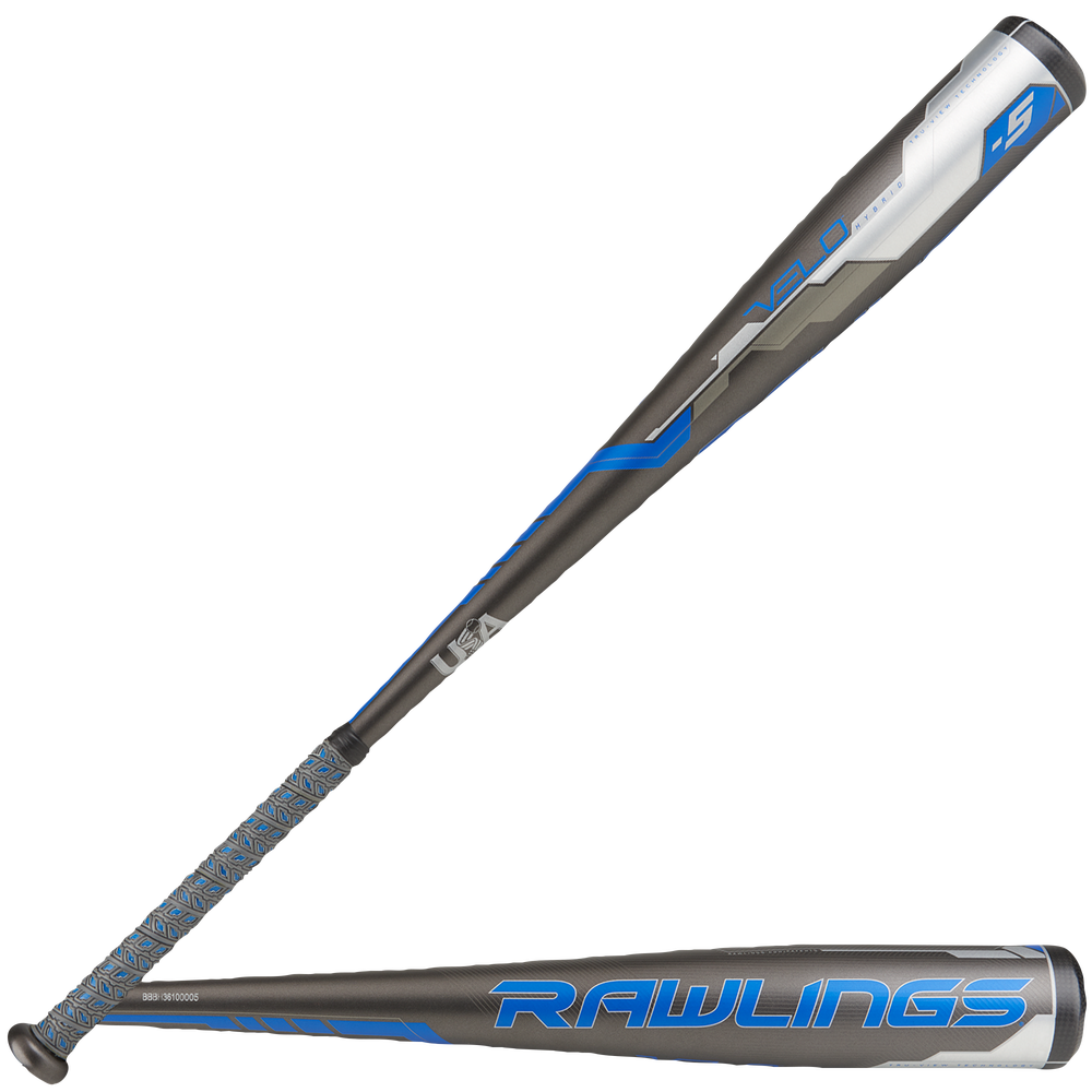 Rawlings Velo USA Baseball Bat - Grade School / Grey/Blue/White   -5 oz / 2 5/8 Barrel