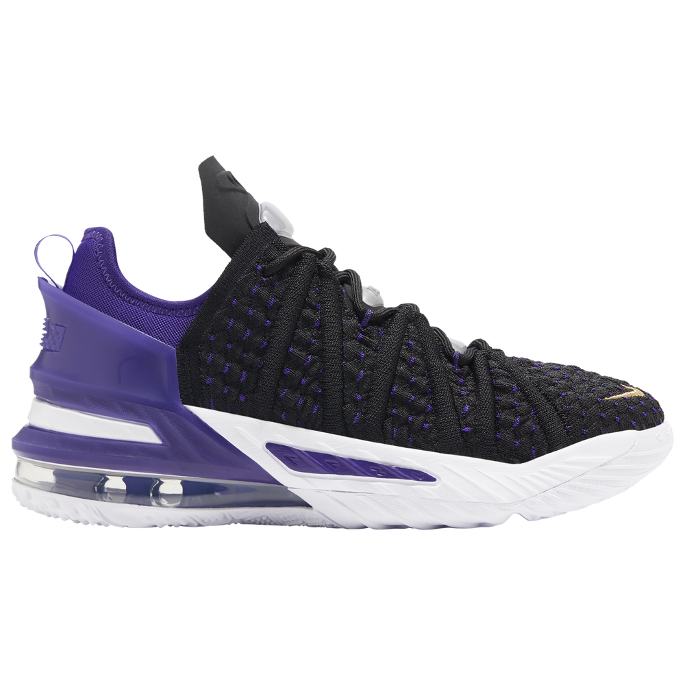 Nike LeBron 18 - Boys Grade School / Lebron James | Black/Metallic Gold/Purple