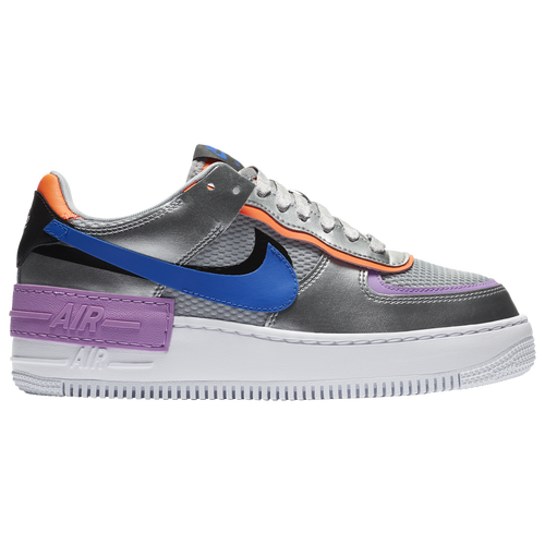 Nike Air Force Shadow Modesens The nike swooshes are sitting on top of each other, while the exaggarated stacked midsole features an 'air' tab to the side. air force 1 shadow in metallic silver racer blue fuchsia glow