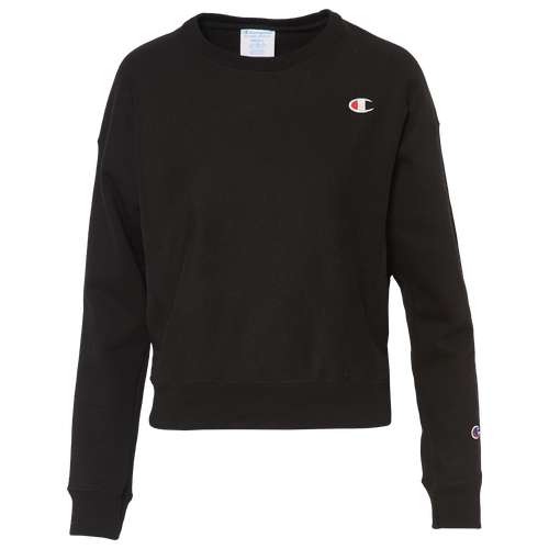 Champion Women's Cotton Long-sleeve Cropped T-shirt In Black/black/red