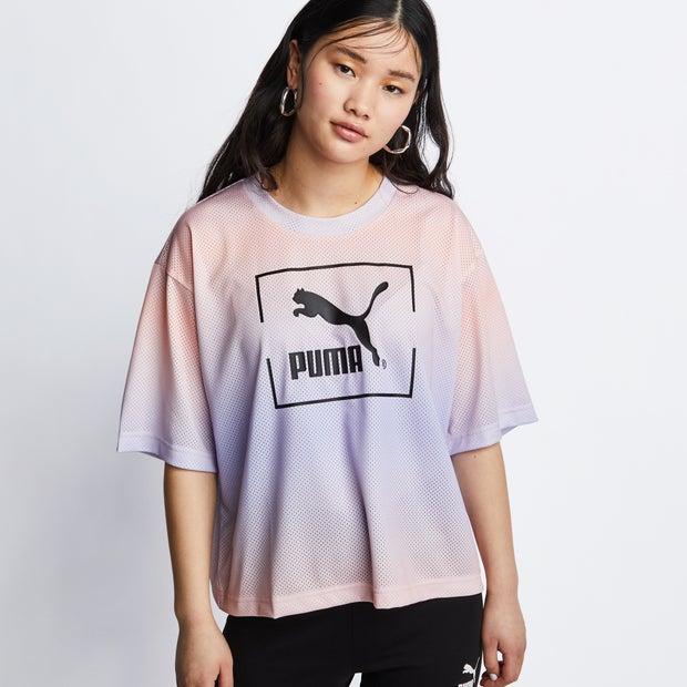 Puma Dye Mesh - Women T-Shirts - Purple - 100% Polyester - Size M - Foot Locker