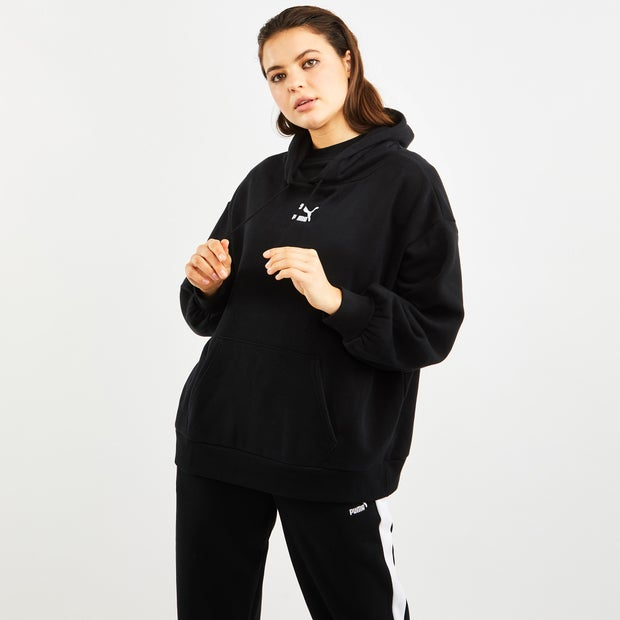 Puma Classics Os Over The Head - Women Hoodies - Black - 96% Cotton, 4% Elastane - Size S - Foot Locker