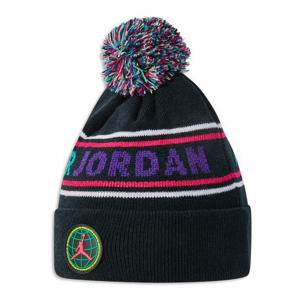Jordan Kids Striped Pom Beanie - Unisex Knitted Hats & Beanies