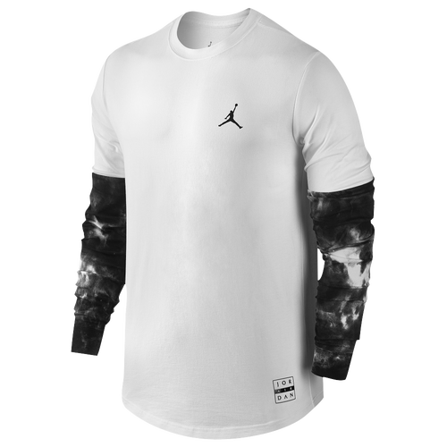 Jordan Clouded Nightmares Long Sleeve T-Shirt - Men's Basketball - White/Black 01573100