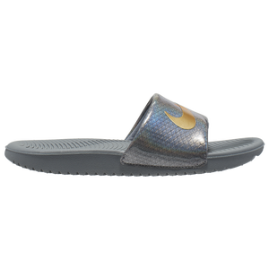 Nike Kawa Slide - Girls' Preschool - Cool Grey/Met Gold/Anthracite