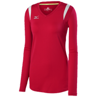 Mizuno Balboa 5.0 L/S Volleyball Jersey - Women's - Red / Silver