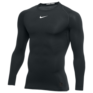 Nike Pro Long Sleeve Compression Top - Men's - Black/White/N/A