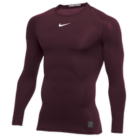 Nike Pro Long Sleeve Compression Top - Men's - Maroon