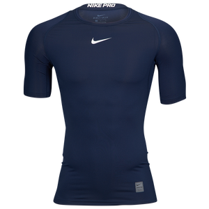 Nike Pro Short Sleeve Compression Top - Men's - College Navy/White