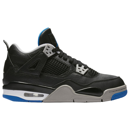 Jordan Retro 4 - Boys' Grade School - Basketball - Shoes - Black/Game  Royal/Matte Silver