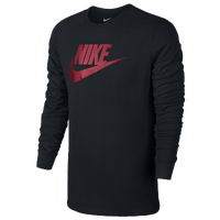 Nike Futura Icon Long Sleeve T-Shirt - Men's Casual - Black/University Red 08466010