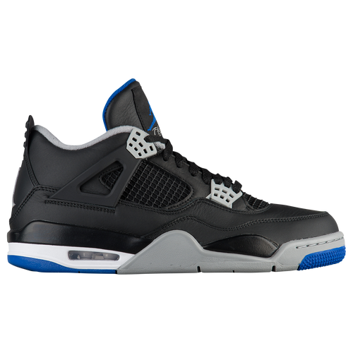 Jordan Retro 4 - Men's - Basketball - Shoes - Black/Game Royal/Matte Silver