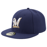 New Era Mlb 59fifty Authentic Cap Men S Milwaukee Brewers Navy White