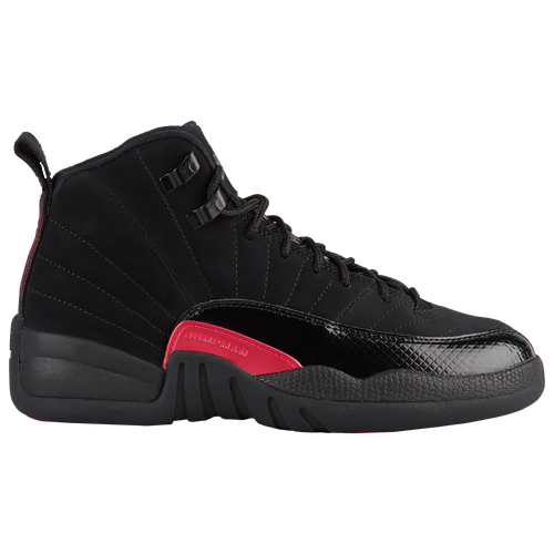 94bb1eee4906 Jordan Retro 12 - Girls  Grade School - Casual - Basketball - Black Dark  Grey Rush Pink
