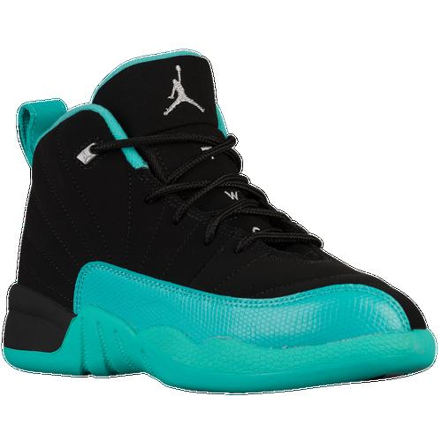 detailed look e5989 82039 Jordan Retro 12 - Girls  Preschool - Basketball - Shoes - Black Metallic  Silver Hyper Jade