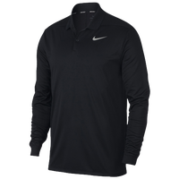 Nike Dri-Fit Victory Long Sleeve Polo - Men's - All Black / Black