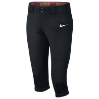 Nike Girls Softball Diamond Invader 3/4 Pants - Girls' Grade School - Black / Black