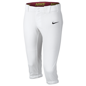 Nike Girls Softball Diamond Invader 3/4 Pants - Girls' Grade School - White/Black