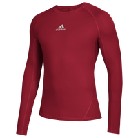 adidas Alphaskin Long Sleeve Top - Boys' Grade School - Red