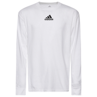 adidas Team Amplifier Long Sleeve T-Shirt - Boys' Grade School - All White / White