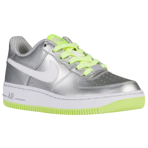 online store 81c7c 2da30 Nike Air Force 1 Low  06 - Girls  Grade School - Casual - Shoes - Metallic  Silver White Wolf Grey Volt