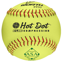 Worth AHD12CY Hot Dot Yellow Softball - Men's - Yellow / Red