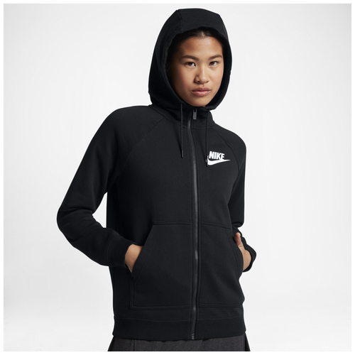 Nike Rally Full Zip Hoodie - Women's Casual - Black/White 1527010