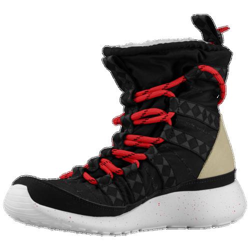 Nike Womens Roshe Run Hi Sneakerboot Black Sail Linen University Red - Boots