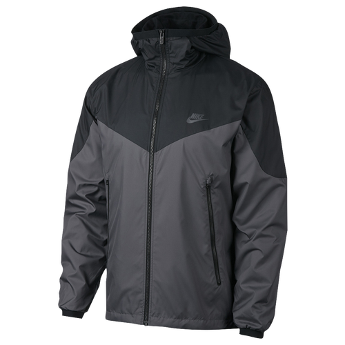 nike windrunner jacket black and grey